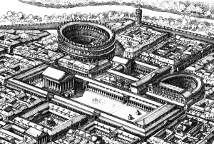Alba Pompeia. Disegno ricostruttivo di F. Corni.