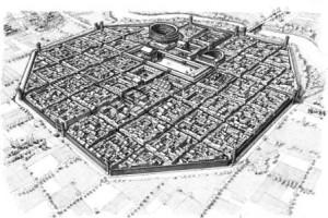 Ipotesi ricostruttiva di Alba Pompeia (disegno F. Corni)