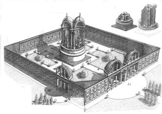 Disegno ricostruttivo-ipotetico del monumento