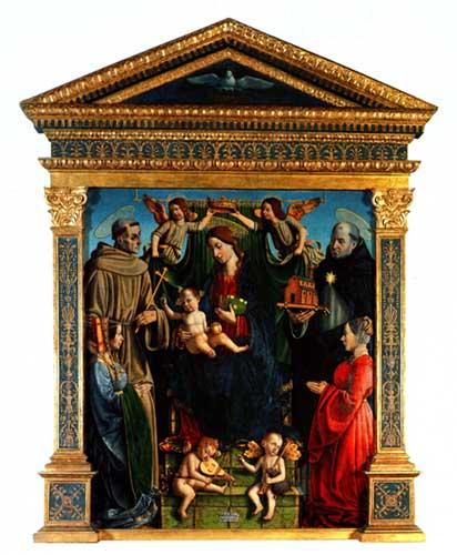 Madonna col Bambino, angeli e santi , Macrino d'Alba
