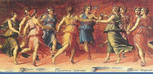 Clio, Urania, Melpomene, Talia, Tersicore, Erato, Calliope, Euterpe e Polinnia. Le 9 figlie di Apolo e Mnemosine, le Muse